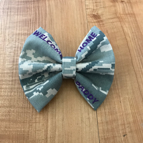 """Welcome Home Daddy"" Classy Corner Bow (all branches)"