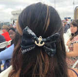 U.S. Navy Digi Blue Classy Corner Bow with Rhinestone Anchor