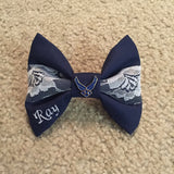 Air Force Navy and Lace Bow with Air Force Wings