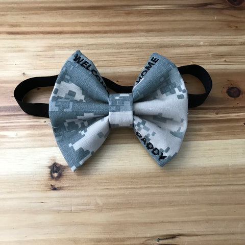 """Welcome Home Daddy"" Bow on Headband (all branches)"
