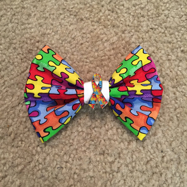 Autism Awareness Bow with Charm