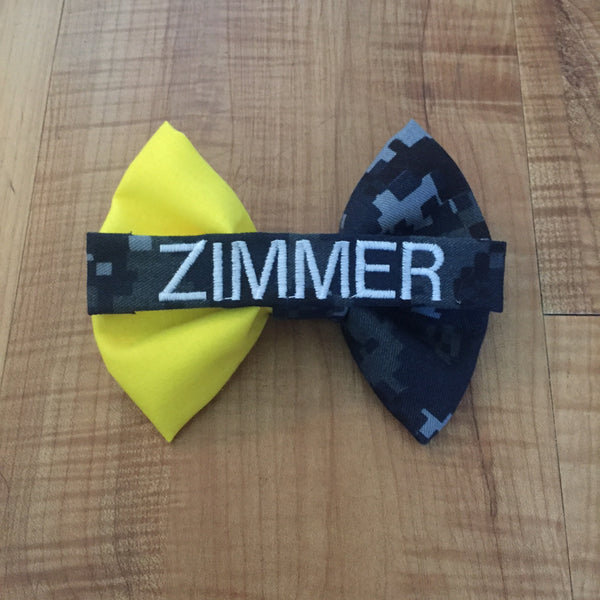 Half Yellow-Half Camo Nametape Bow (all branches)