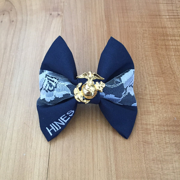 Marines Navy & Lace Bow with Charm