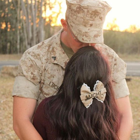 Marines Lace Desert Nametape Bow