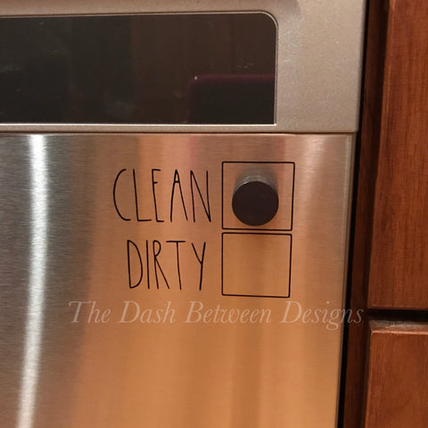 Rae Dunn Inspired CLEAN DIRTY Dishwasher Decal