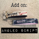 Angled Script Fee (Wristlets/Lanyards sold separately)