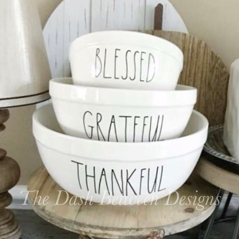Rae Dunn Thankful Grateful Blessed Bowl Decals