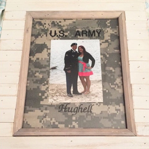 Personalized Camo Photo Mat for 8x10 Frame (fits 4x6 photo) (all branches)