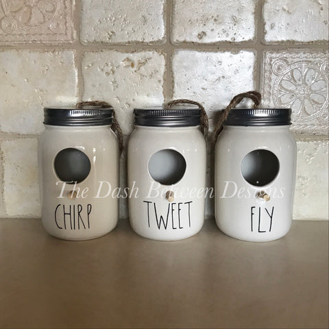Rae Dunn Inspired Birdhouse Decals (Chirp, Tweet, Fly, Home)