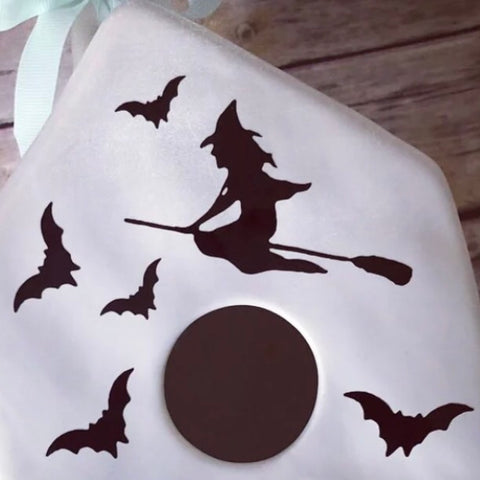 Rae Dunn Inspired witch and bats decal for birdhouses