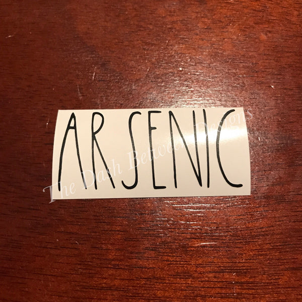 Rae Dunn Inspired ARSENIC Decal