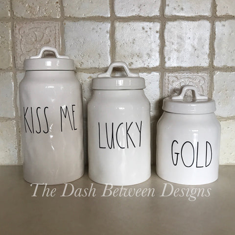 Rae Dunn Inspired KISS ME LUCKY GOLD Canister Decals