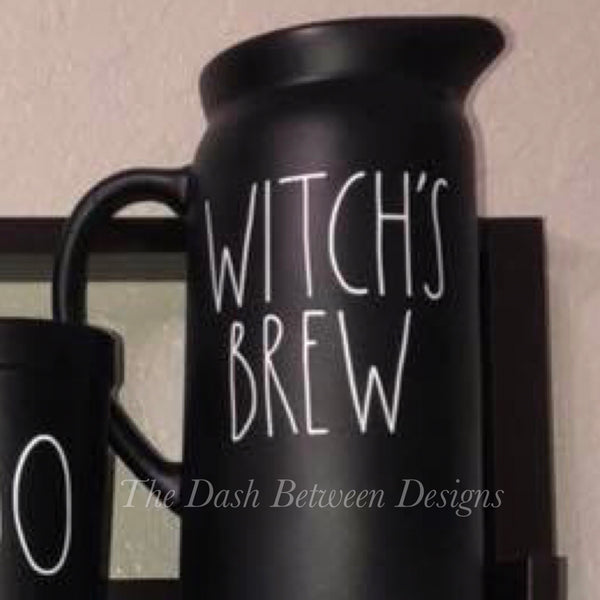 Rae Dunn inspired white WITCH'S BREW Decal