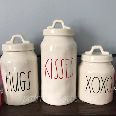 Rae Dunn Inspired HUGS KISSES XOXO Decals for Canisters