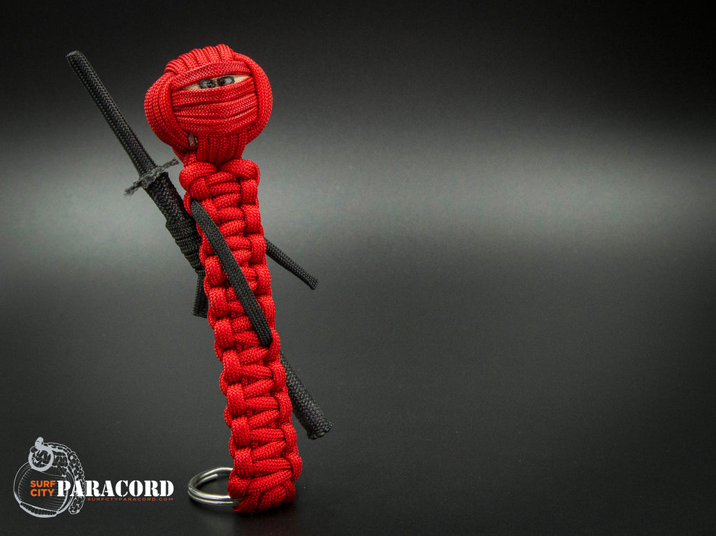 Deluxe Paracord Ninja Keyfob (Red)