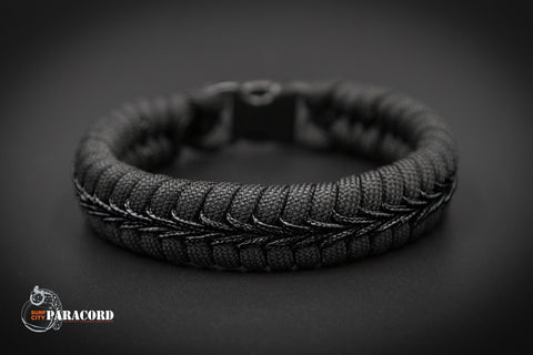 Back in Black Paracord Fishtail Bracelet with Black Center Stitch.