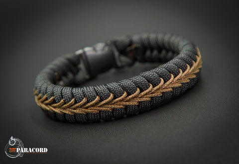 Black Paracord Fishtail Bracelet with Coyote Center Stitch.
