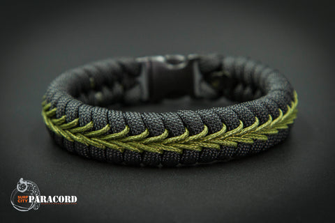 Black Paracord Fishtail Bracelet with Olive Drab Center Stitch.