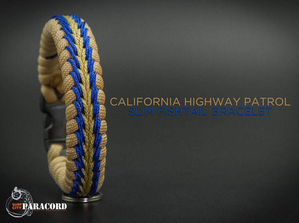 Slim Stitched Fishtail Paracord Bracelet (California Highway Patrol)