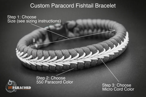 Custom Stitched Fishtail Paracord Bracelet (Solid Colors)