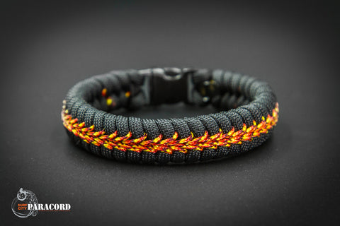 Black Paracord Fishtail Bracelet with Fireball Center Stitch.