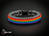 Rainbow Stitched Fishtail Paracord Bracelet (Charcoal Grey)