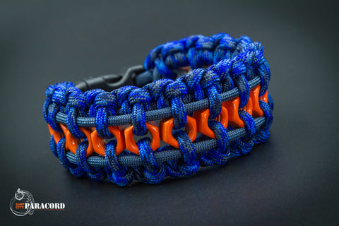 Hex Nut Paracord Bracelet (Blue Camo / Orange / Slate)