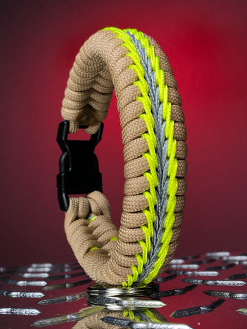Wide Stitched Fishtail Paracord Bracelet (Turnout Gear)