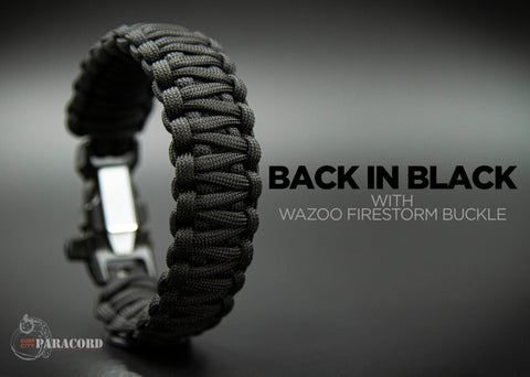 King Cobra Paracord Survival Bracelet with Wazoo™ Firestorm™ Whistle Buckle (Back in Black)