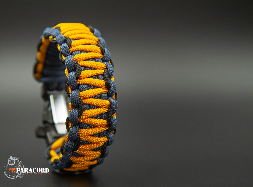 King Cobra Paracord Survival Bracelet with Wazoo Firestorm Whistle Buckle (Goldenrod)