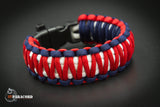 King Cobra Paracord Survival Bracelet with Whistle Buckle (Red, White, Blue)