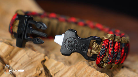 King Cobra Paracord Survival Bracelet with Wazoo Firestorm Buckle (Lumberjack)