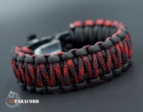 King Cobra Paracord Survival Bracelet with Wazoo Firestorm Buckle (Red Hawk Special Edition)