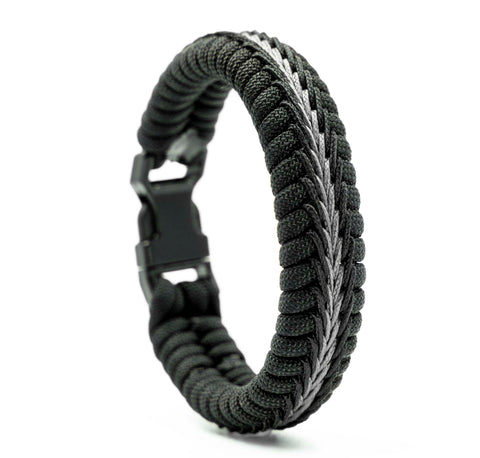 Wide Stitched Fishtail Paracord Bracelet (Thin Gray Line)