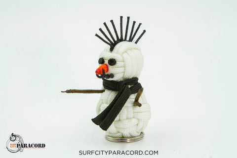 Handmade Paracord Snowman Christmas Ornament (Snow Punk)