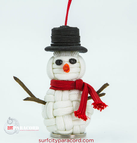 Handmade Paracord Snowman Christmas Ornament (Frosty)