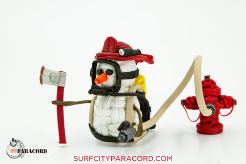 Handmade Paracord Snowman Christmas Ornament (Firefighter w/ hydrant)