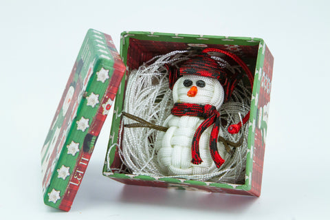 Handmade Paracord Snowman Christmas Ornament (Trapper)