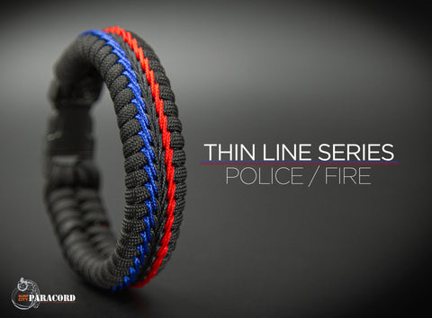 Wide Stitched Fishtail Paracord Bracelet (Police / Fire)
