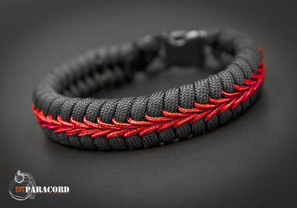 Firefighter Thin Red Line Stitched Fishtail Paracord