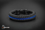 Wide Stitched Fishtail Paracord Bracelet (Thin Blue Line v2)