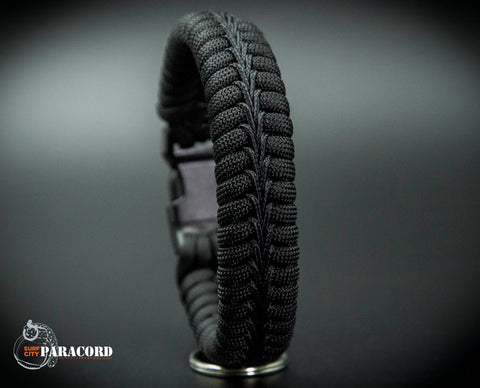 Wide Back in Black Stitched Fishtail Paracord Bracelet