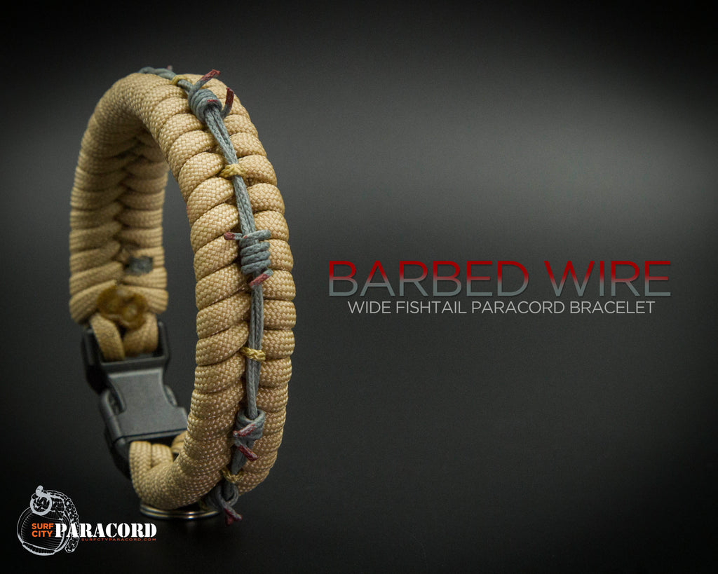 Wide Stitched Fishtail Paracord Bracelet (Barbed Wire)