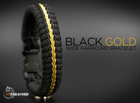Wide Stitched Fishtail Paracord Bracelet (Black Gold)