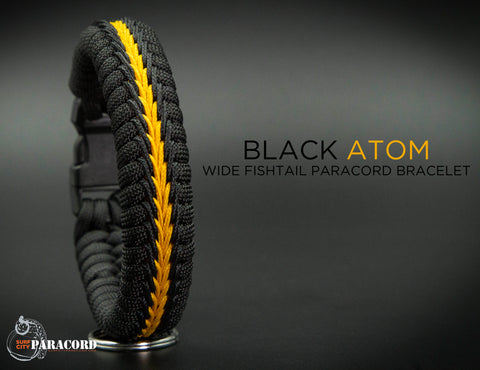 Wide Stitched Fishtail Paracord Bracelet (Black Atom)