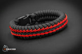 Wide Stitched Fishtail Paracord Bracelet (Blackbird)