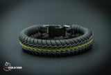 Wide Stitched Fishtail Paracord Bracelet (Black Olive)