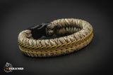 Wide Stitched Fishtail Paracord Bracelet (Desert Camo / Brown / Coyote)
