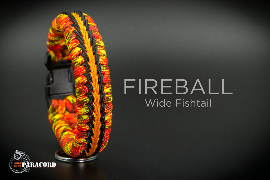 Wide Stitched Fishtail Paracord Bracelet (Fireball)