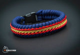 Wide Stitched Fishtail Paracord Bracelet (Navy / Gold / Red)